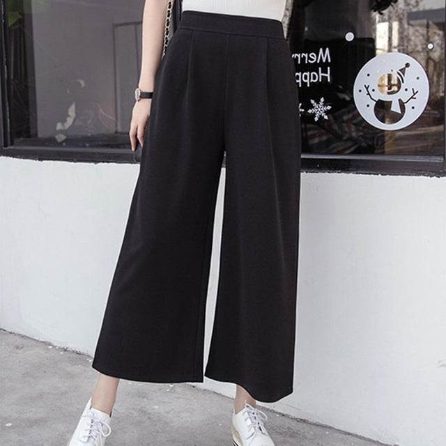 Women Pants Spring Casual Mid Waist Ankle Length Black Harem Pants Leisure Trousers Ladies Loose wide leg pant-geekbuyig