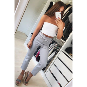 Suede high waist stright pants capris Women bottom streetwear casual pants 2018 Autumn chic black &gray&white winter trousers-geekbuyig