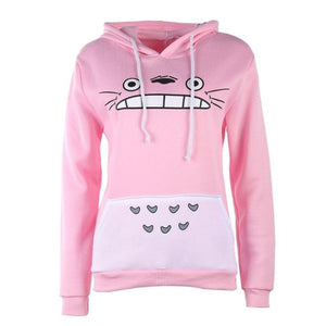 New Fashionable Women Cartoon Totoro Hoodie Casual Sweatshirt Gray Unisex Pullover Long Sleeve Coat Male Female Hoodies-geekbuyig