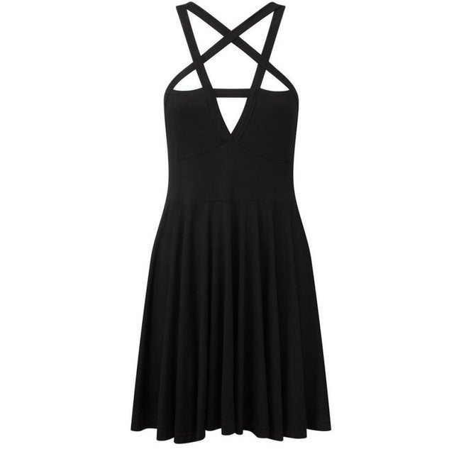 Feitong Women Backless Dress Spaghetti Strap Sleeveless Solid Sexy Cross Bodycon 2018 Summer Bandage Star Mini Dress-geekbuyig