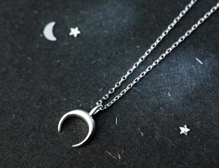 very tinny SMALL 100% REAL. 925 Sterling Silver Fine Jewelry polished Crescent Moon pendant Necklace GTLx1716-geekbuyig