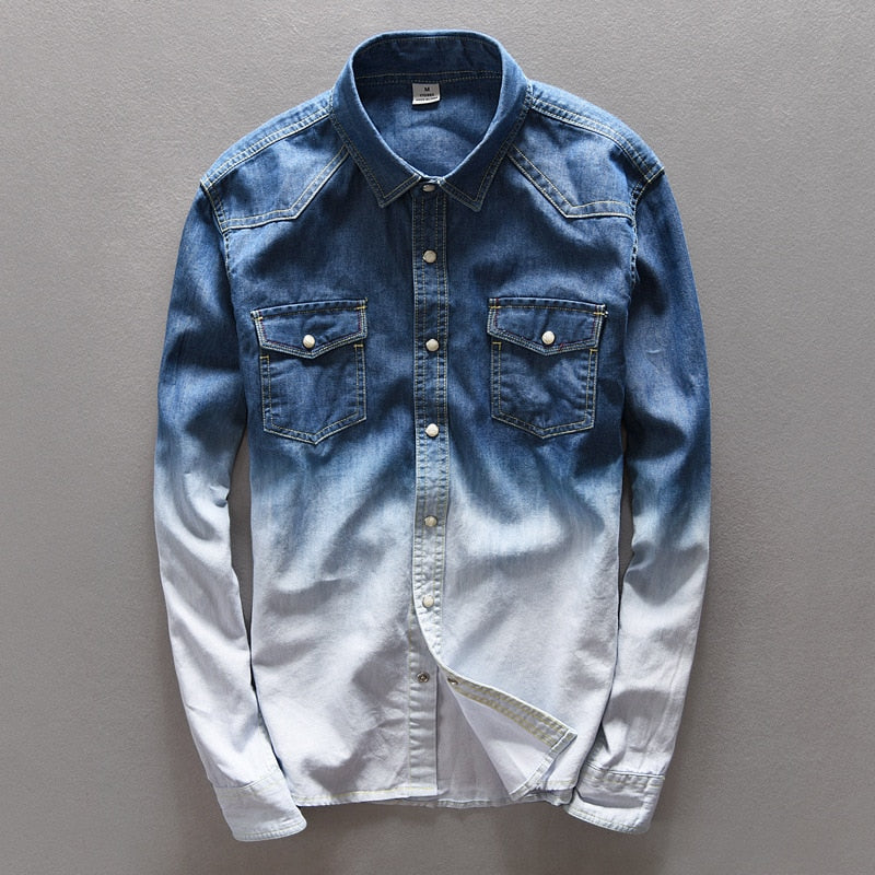2018 high-end solid color cowboy leisure shirt Male loose double color gradient denim shirts-geekbuyig