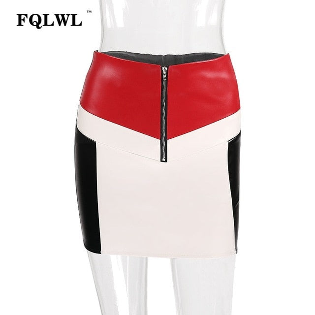 FQLWL Patchwork PU Leather Skirt Women Zipper High Waist A-Line Bodycon Wrap Skirt Jupe Femme Summer 2018 Sexy Party Mini Skirts-geekbuyig