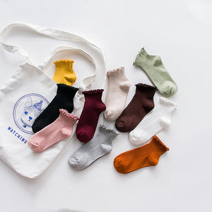 Spring Lace Ruffles Socks Cotton Ankle Lovely Frilly Edge Girls' Women Socks Sweet Casual Short Tube Lady Vintage Ship Socks-geekbuyig