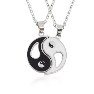 2 PCS Best Friends Necklace Jewelry Yin Yang Tai Chi Pendant Necklaces Black White Couples Paired Necklace For Men Women Gift-geekbuyig