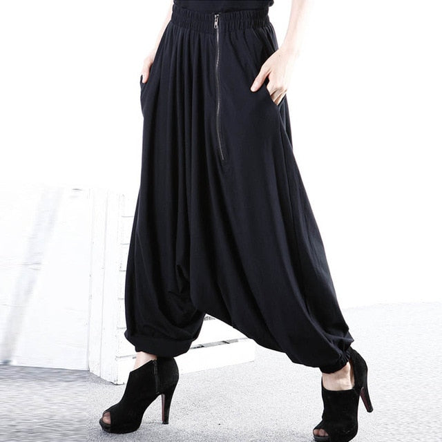 5XL ZANZEA Women Baggy Solid Drop-Crotch Zip Black Gothic Wide Leg Pants Long Harem Pants Pockets Work Turnip Pantalon Trousers-geekbuyig
