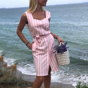 Summer Women New Fashion Striped Pink Navy square collar straight Dress 2018 sleeveless Sexy Club Beach knee-length Party Dress-geekbuyig