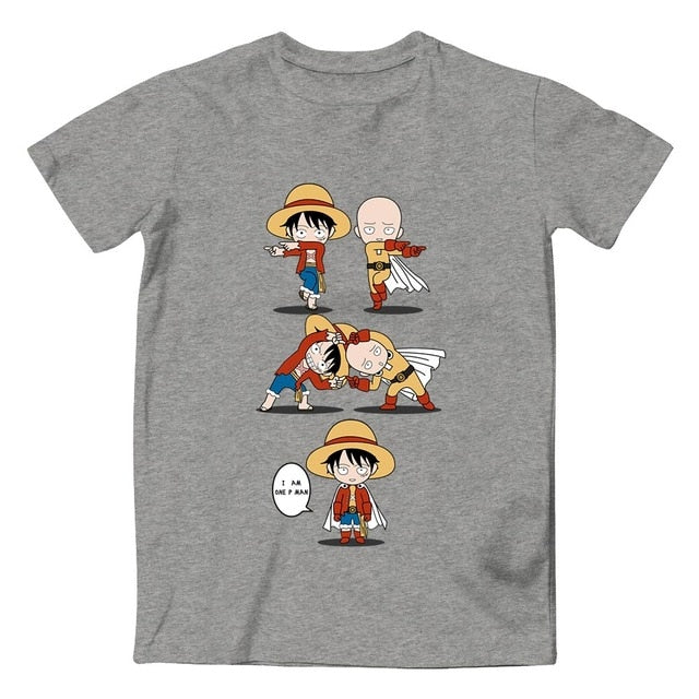 Monkey D Luffy VS Monkey Goku T Shirt Awesome Anime Cool Design T-shirt Dragon Ball Crossover One Piece 100% Cotton Black Tee-geekbuyig