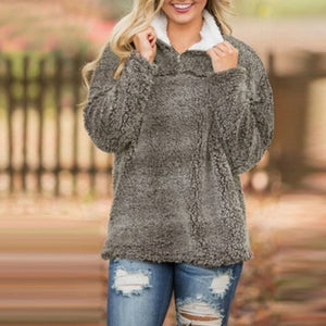 2018 Oversize ZANZEA Casual Solid Lapel Zipper Long Sleeve Loose Plush Fluffy Sweatshirt Women Baggy Winter Warm Fleece Pullover-geekbuyig
