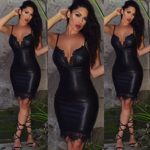 Fashion Women Sexy Slim Bodycon Dress Summer Club Wear Sleeveless Deep V-neck Leather Lace Mini Pencil Dresses-geekbuyig