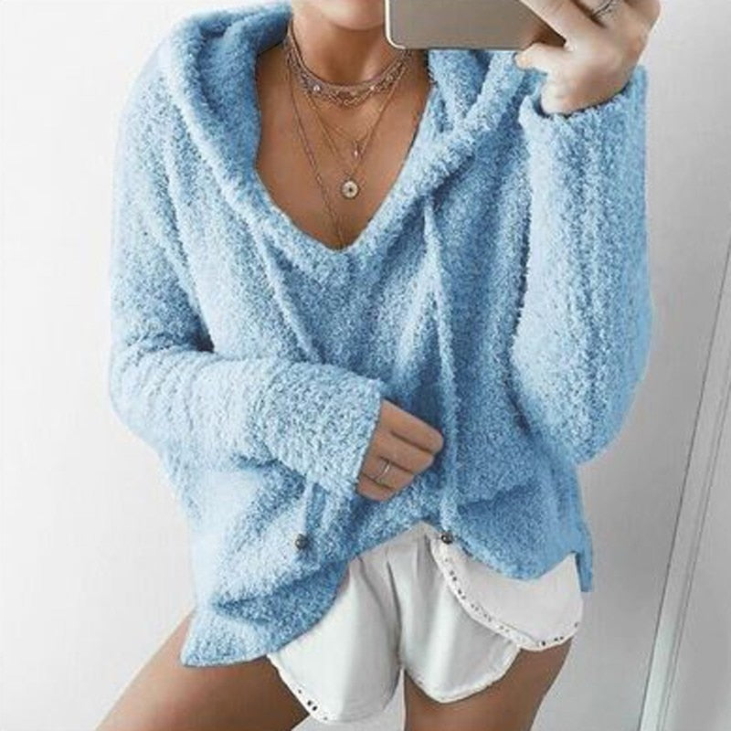 2018 ZANZEA Women Hoodies Long Sleeve Solid Loose Knit Sweatshirt Plush Fluffy Knitwear Jumper Pull Casual Hooded Pullover Top-geekbuyig