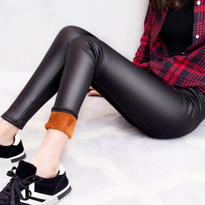 New Winter Warm Pants & Capris Women PU Leather Thick Velvet Stretch Slim Pencil Pants Elasitc Trousers Plus Size-geekbuyig
