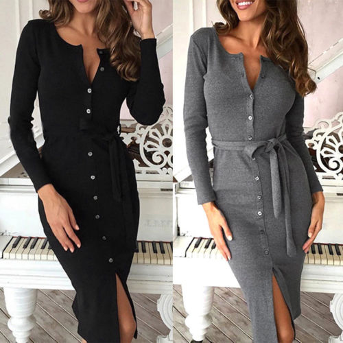 Long Sleeve Knitted Sexy Bodycon Dress Autumn Winter Sheath Cotton Dresses Women Pockets Casual Dress Women-geekbuyig