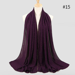 Shinny Crystal Muslim Hijab Plain Instant Shawls Bubble Chiffon Long Scarf Amira Slip On Scarves Wraps Women Headband-geekbuyig