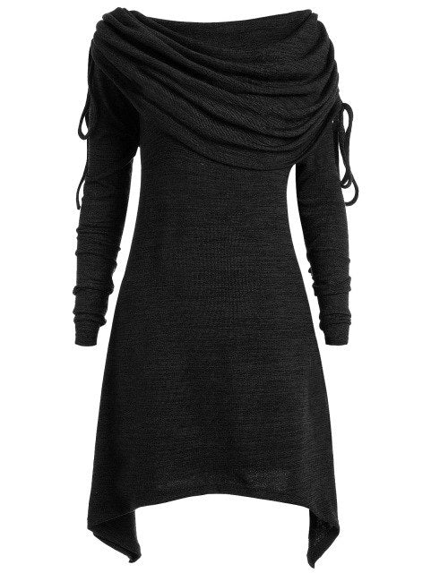 Kenancy Autumn Women Long Sweatshirts Scarf Collar Plus Size 5XL Long Sleeves Casual Feminino Tops Solid Color Irregular Shirts-geekbuyig