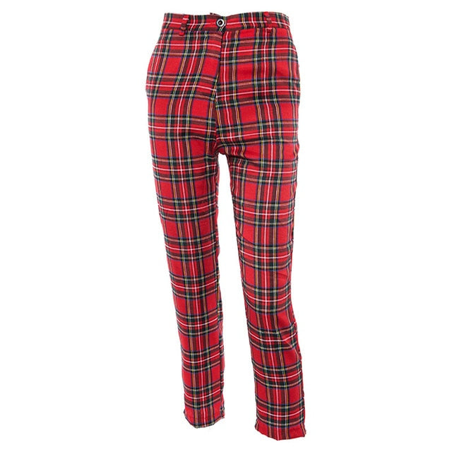 women summer casual fashion plaid zip up slim straight pants female ankle length trousers lattice checker capris WP1731339-geekbuyig