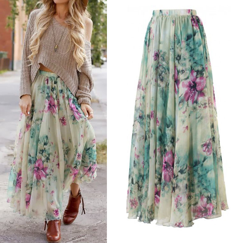 Fashion BOHO Womens Floral Jersey Gypsy Chiffon Long Maxi Full Skirt Summer Casual Beach Sun Skirts-geekbuyig