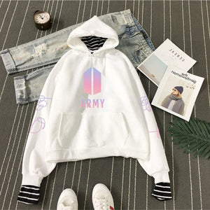 BTS Bangtan Boys Hoodies Army BTS Logo Pullovers Hoodies and Sweatshirts Women Striped Patchwork Fake Two Pieces Clothes A5391-geekbuyig
