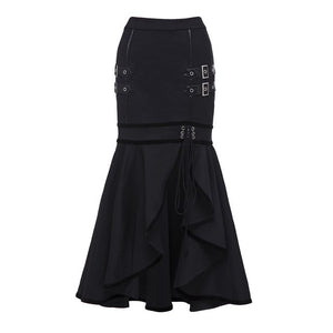 Sisjuly 2018 Gothic Sequined Lace Up Black Maxi Mermaid Skirt Women Asymmetric Split Autumn Winter Skirt Long Ruffled Skirts-geekbuyig