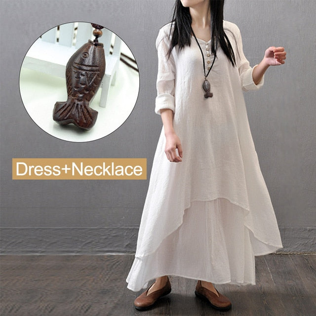 Spring Summer Women Long Cotton Linen Dress White Plus Size False Two Pieces O-Neck Maxi Dresses Office Casual Loose Dress-geekbuyig