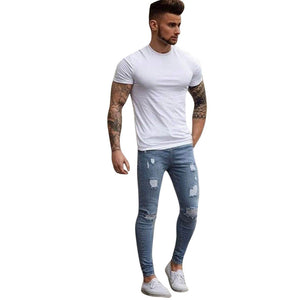 Skinny Jeans Attractive Mens Pants Casual Men Stretchy Ripped Skinny Biker Jeans Destroyed Taped Slim Fit Denim Pants For Male-geekbuyig
