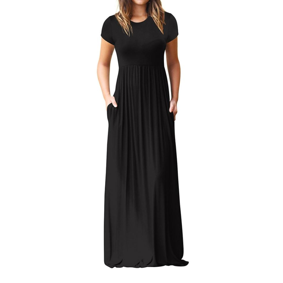 Hot Sale Floor Length Dress Women O Neck Casual Pockets Short Sleeve Loose Party Dress Vestido Longo De Festa-geekbuyig