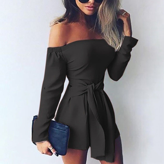 Rompers Womens Jumpsuit 2018 Autumn Playsuits Sexy Off Shoulder Slah Neck Casual Bodysuit Solid Long Sleeve Plus Size Overalls-geekbuyig