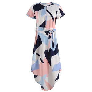 Women Dress Vestido Summer Slim Geometric Printing Asymmetrical Dress Ropa Mujer-geekbuyig