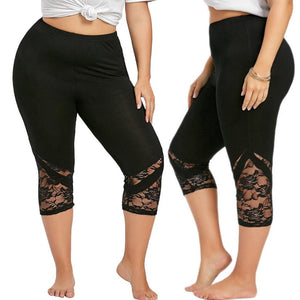 Women Lace Patchwork Skinny Leggings Polyester High Elastic Waist Mid- Calf Women's Summer Plus Size Leggings #50305-geekbuyig