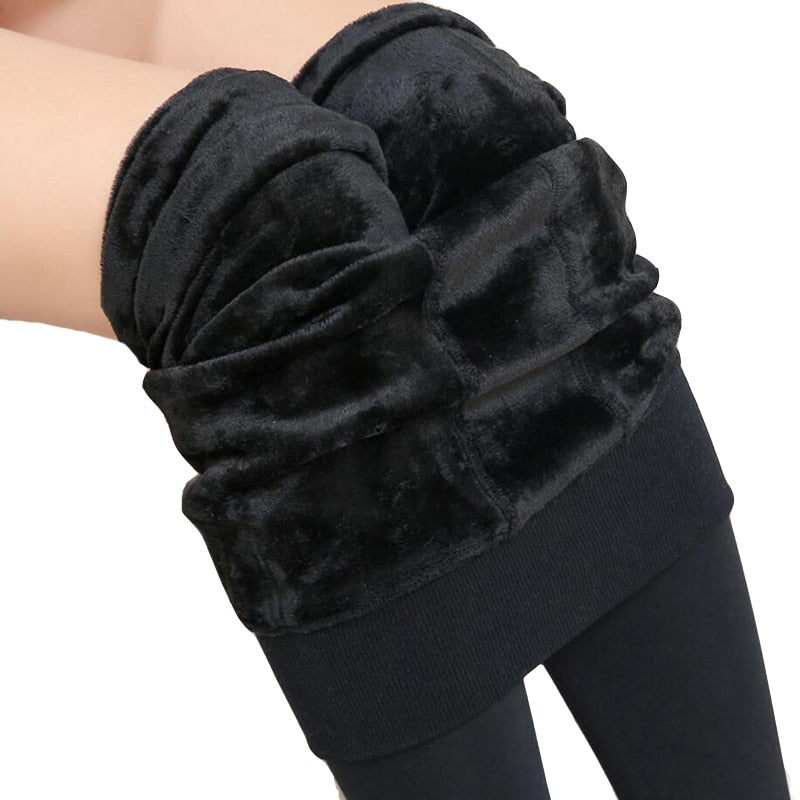 Free Shipping Women Leggings inside Thicken Fur Warm Leggings womens winter fleece legging pants female velvet leggins-geekbuyig