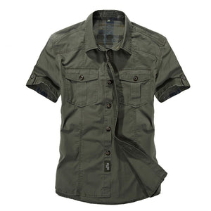 Casual dress shirt men slim fit Military style army green male for boys khaki mens short sleeve cotton designer Breathable Brand-geekbuyig