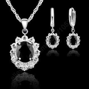 Vogue Princess Wedding Engagement Necklace Earring Jewelry Sets 925 Sterling Silver Oval Black Crystal Good Quality-geekbuyig