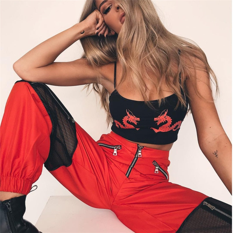 Women Red Loose Harem Pants Mesh Patchwork Trousers Fashion 2018 Female High Waist Sweatpants Hip Hop Female Pants-geekbuyig