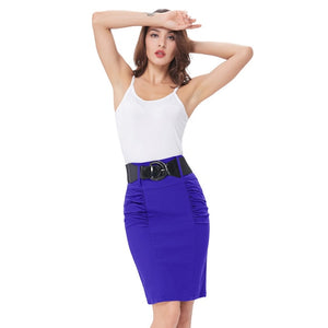 2018 Sexy party pencil Skirts Womens Business Work Office Skirt sashes High Waist Elastic Bodycon Slim Fitting Ladies Skirts-geekbuyig