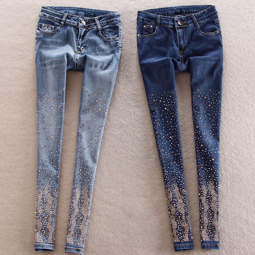2018 new hole jeans women pants trousers pants diamond pencil pant trousers-geekbuyig
