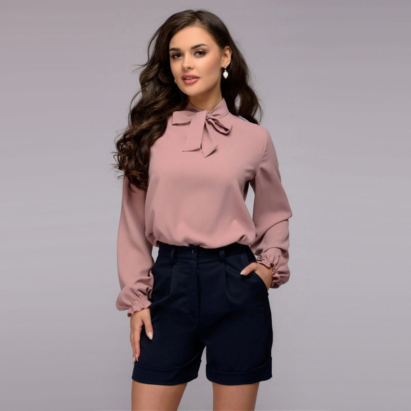 Women Casual Bow Bandage Blouse Ladies O Neck Lantern Sleeve Tops And Blouse 2018 New Fashion Elegant Office Lady Work Shirts-geekbuyig