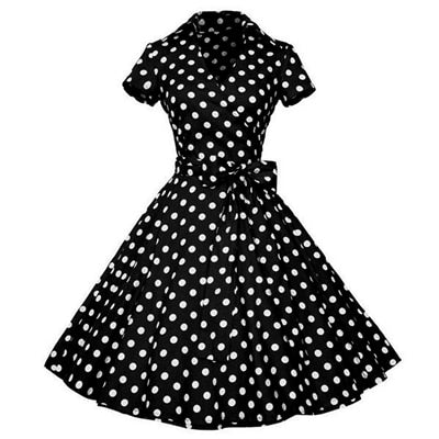 Kenancy Women Rockabilly Dress Retro PinUp Hepburn V Neck Bow Ball Gown Tunic Swing Woman 50s 60s Belt Dresses Feminino Vestidos-geekbuyig