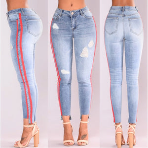 2018 high street Jeans Women Basic Classic High Waist Skinny Pencil Denim Pants striped ripped hole Elastic Stretch Jeans women-geekbuyig