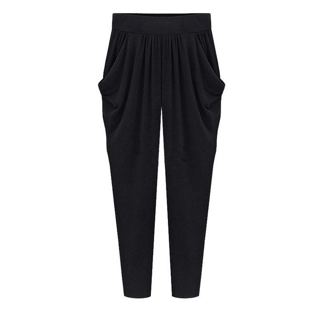 5XL 6XL 7XL 8XL Plus Size 2018 Summer Autumn Woman Trousers Pleated Strechy Elastic Harem Pants Pantalon Femmes Calca Feminina-geekbuyig