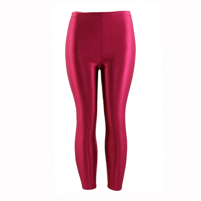 Women Pants High Elastic Female Stretch Pencil Pants Casual Slim High Waist Skinny Trousers Multicolor Shiny Glossy Leggings-geekbuyig