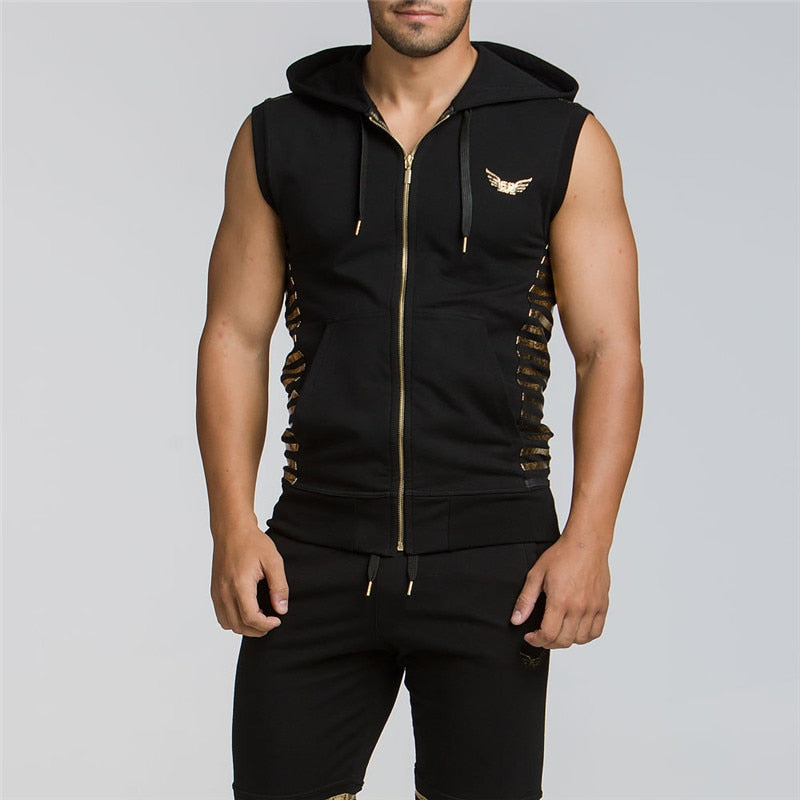 Fashion Men Hooded Tanks Tops Bodybuilding Sleeveless Gymclothing Male Summer Hoodies Cotton Hoody Workout Clothes-geekbuyig