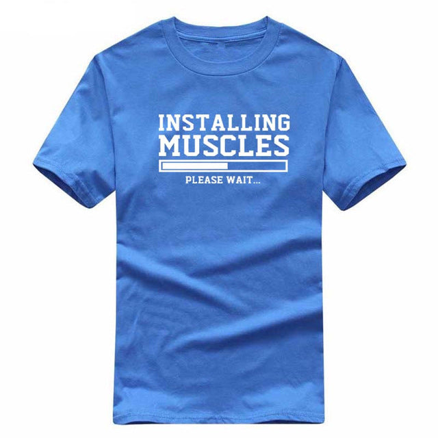 Men's T-shirts summer 2018 printed INSTALLING MUSCLES funny T-shirt fashion brand clothing crossfit t shirt men homme fitness-geekbuyig