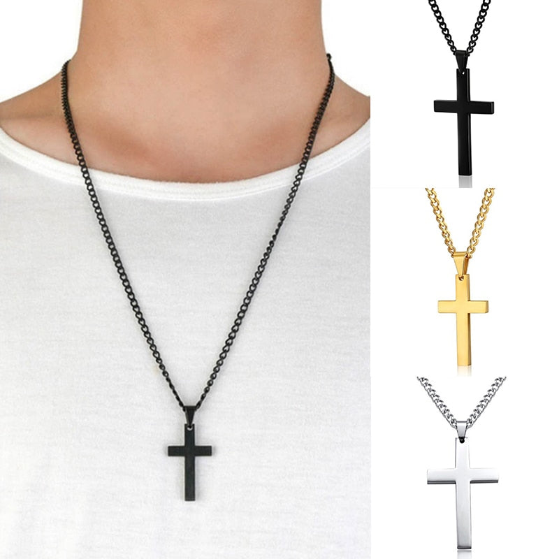 4 Colors Hot Plated Men Link Chain Necklaces Pendant Cross Solid Color Korean Version Choker Jewelry Gift-geekbuyig