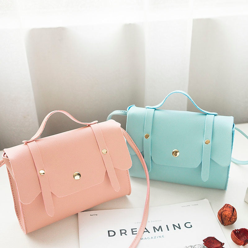 Small Soft Sweet Candy Macarons Color PU Leather Clamshell Shoulder Portable Handbag Ladies Bag FA$3 Women bag-geekbuyig