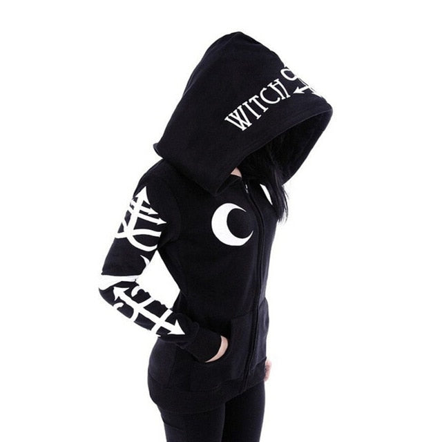 Women's Witchcraft Hooded Long Sleeve Gothic Witch Moon Women Oversized Hoodie Sweatshirt Zip Plus Size-geekbuyig