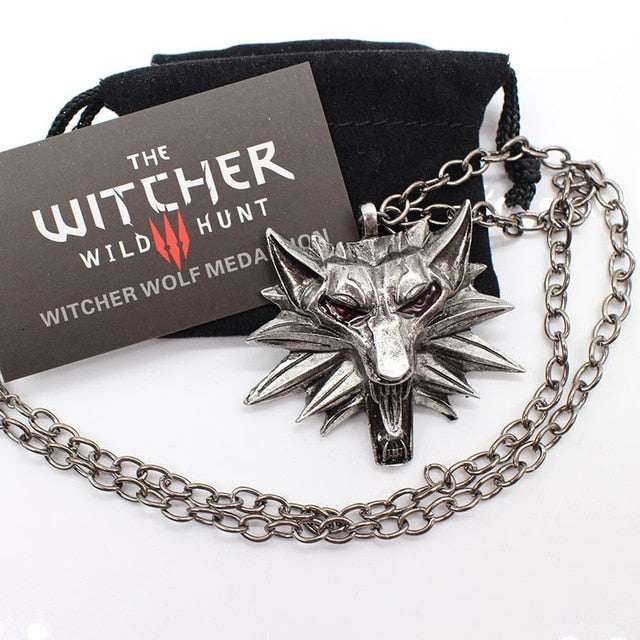 the witcher 3 pendant necklace animal wolf head necklace 1 bag 1 card original quality wholesale-geekbuyig