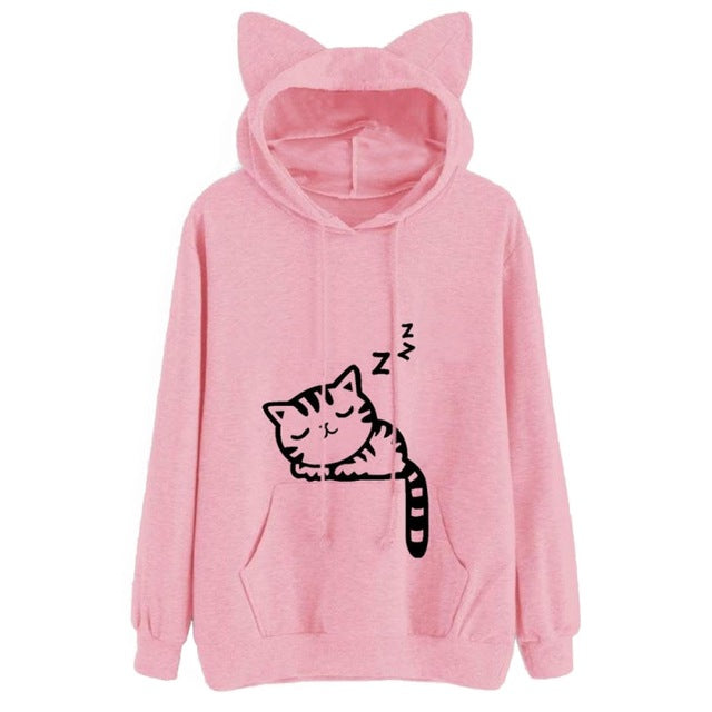 Womens Cat Printed Long Sleeve Hoodies Pullovers Fashion Cat Ear Hooded Sweatshirts Tops-geekbuyig
