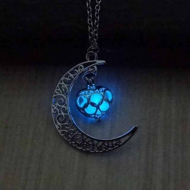 2018 Glowing In The Dark Pendant Necklaces Silver Plated Chain Necklaces Hollow Moon & Heart Choker Necklace Collares Jewelry-geekbuyig