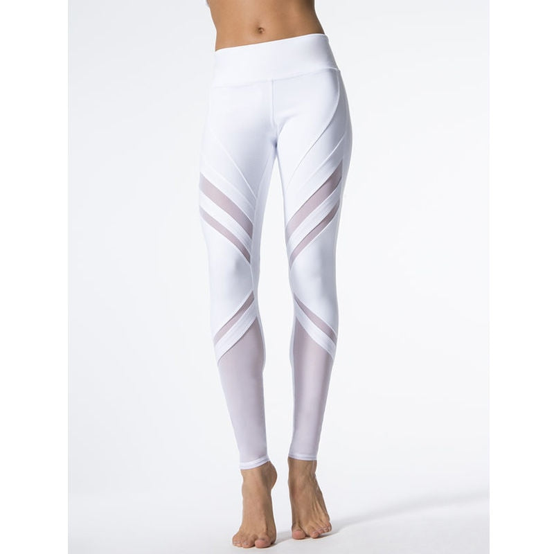 Fashion Women Fitness Leggings White High Waist Woman Clothes Casual Long Trousers Slim Mesh Patchwork Womens Stretch Leggings-geekbuyig