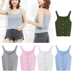 Women Rib Knitted Tank Tops Camisole 2018 Sleeveless Button Up Summer Tops Vest Casual Ladies Solid Slim Fit Cropped Tee Shirts-geekbuyig